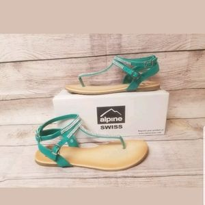 Alpine Swiss sandals size 9 Teal/Green